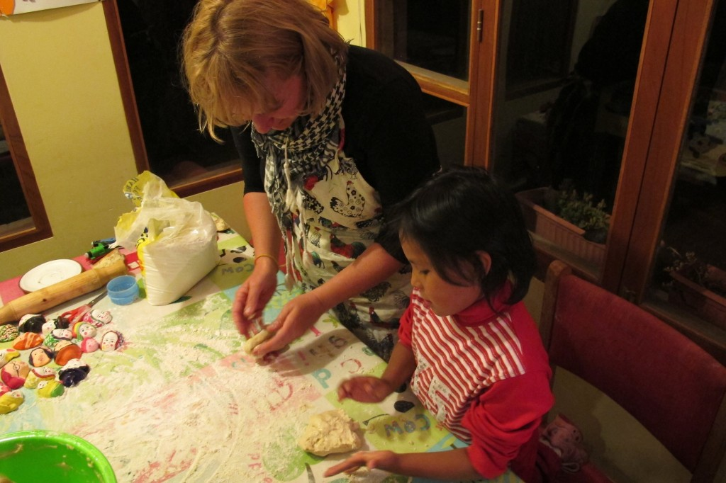 Emma and Zoe Making Bread