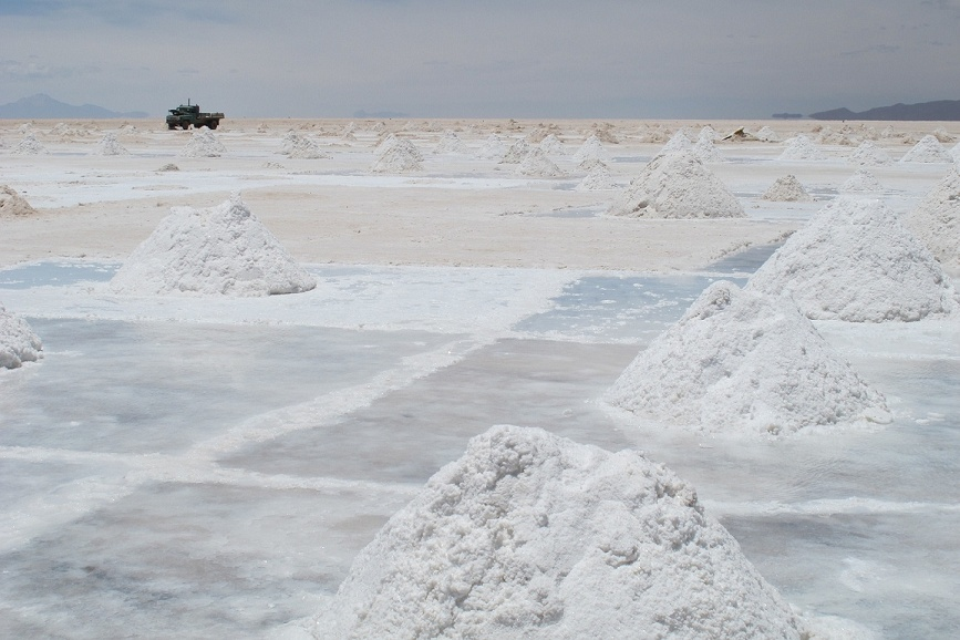 Collecting the salt for processing.