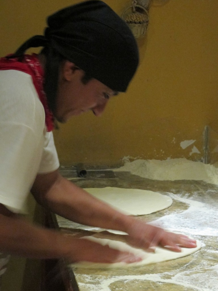 Working the dough.