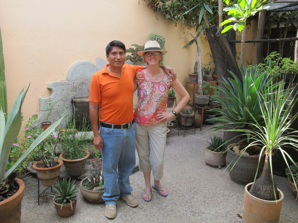 With Chef Andres in the courtyard of the Oaxacan Learning Centre.