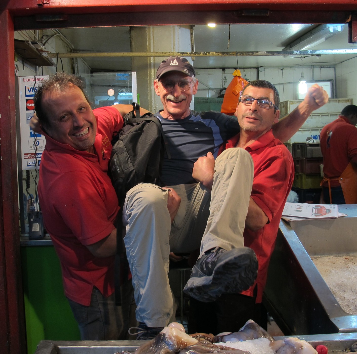 Dugla and the Crazy Fish Mongers at Mercado, Central, Santiago